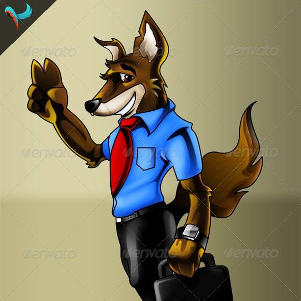 Business Wolf PSD Mascot