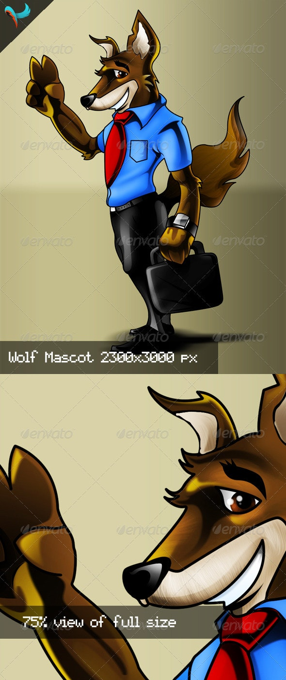 Business Wolf PSD Mascot - Characters Illustrations