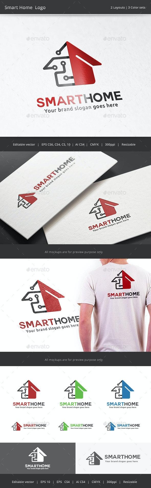 Smart Tech Home Logo - Buildings Logo Templates