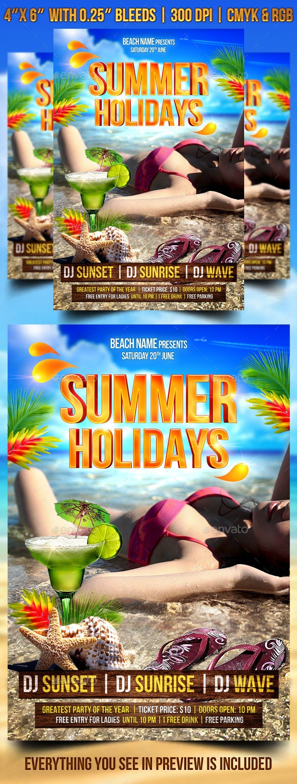 Summer Holidays Flyer Template - Clubs & Parties Events