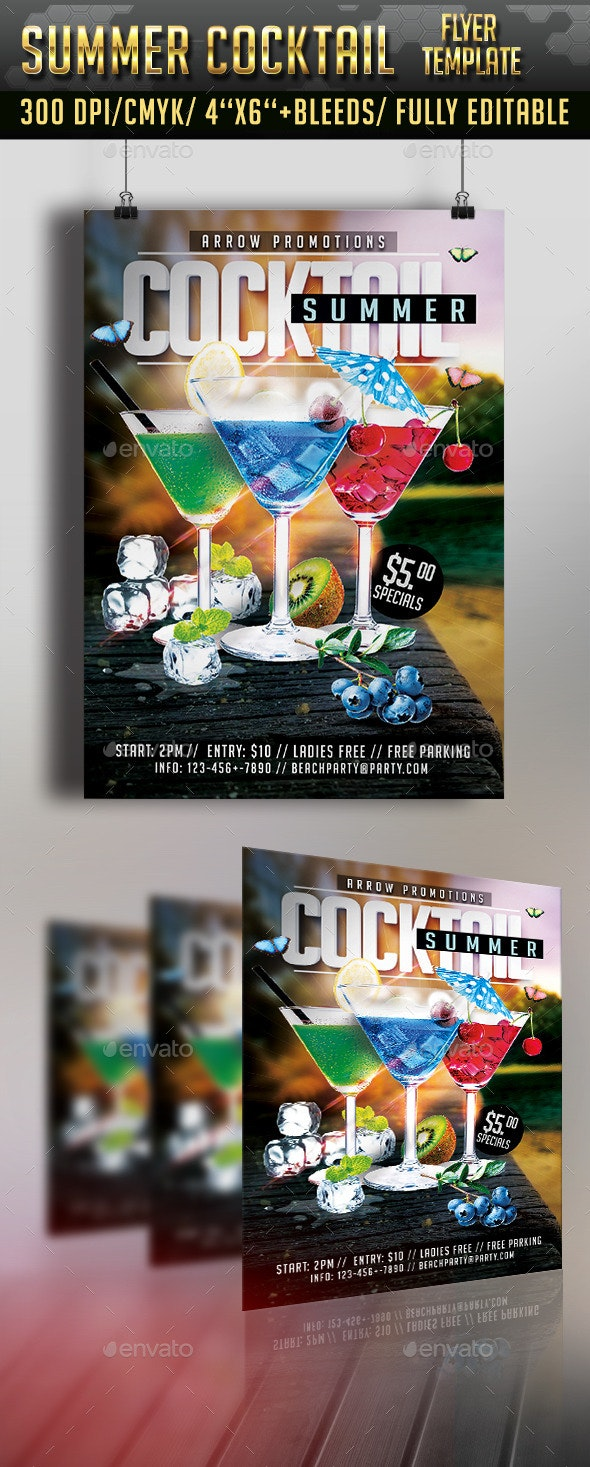 Summer Cocktail Flyer Template - Clubs & Parties Events