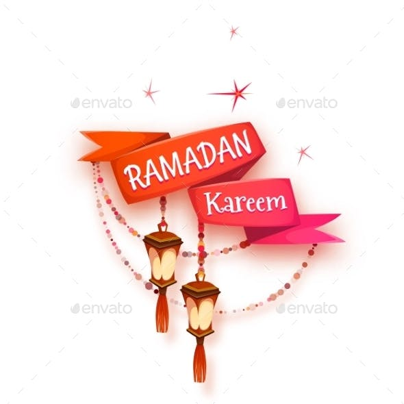 Banner with Red Ribbon and Arabic Lantern