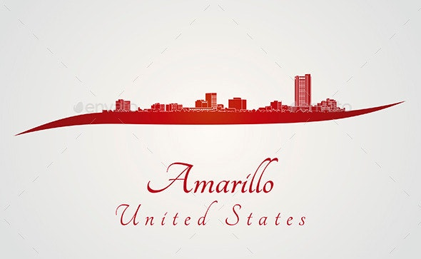 Amarillo Skyline in Red - Buildings Objects