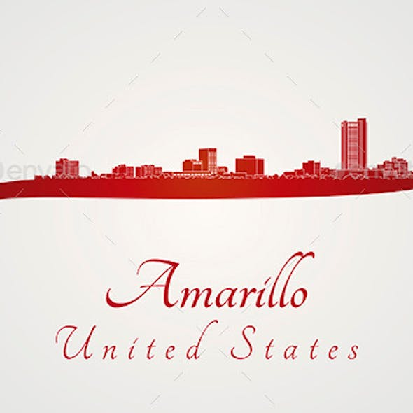 Amarillo Skyline in Red
