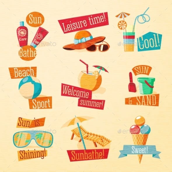 Summer Icons with Typography