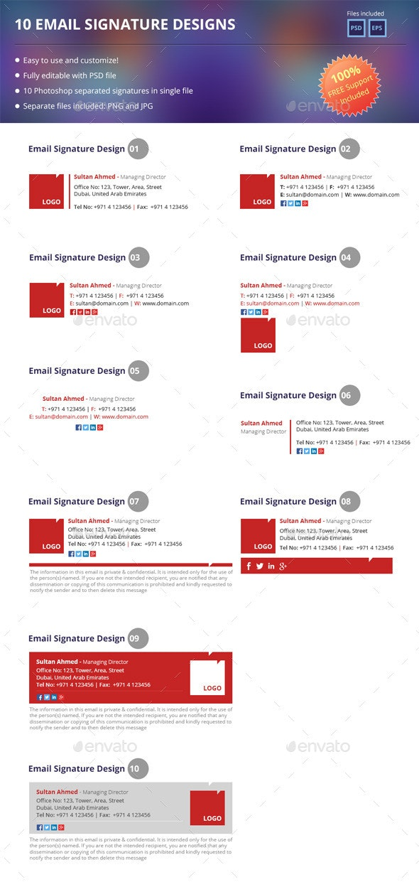 10 Email Signatures - Miscellaneous Backgrounds