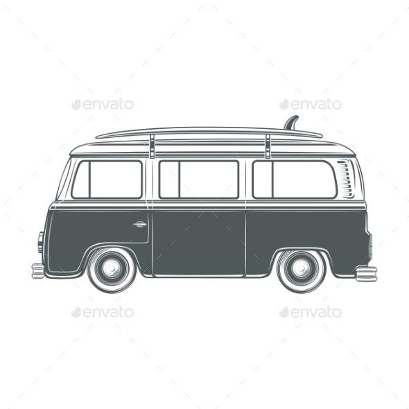 Retro Van with Surf