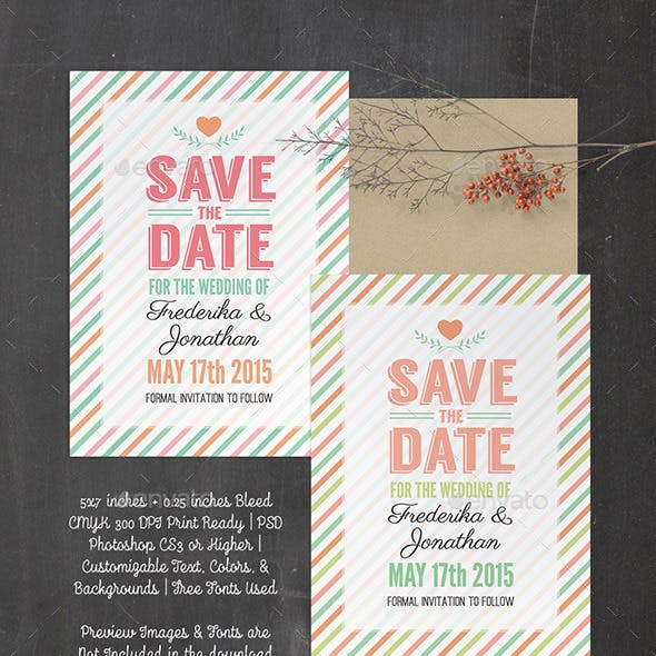 Stripes Save the Date - PSD Template