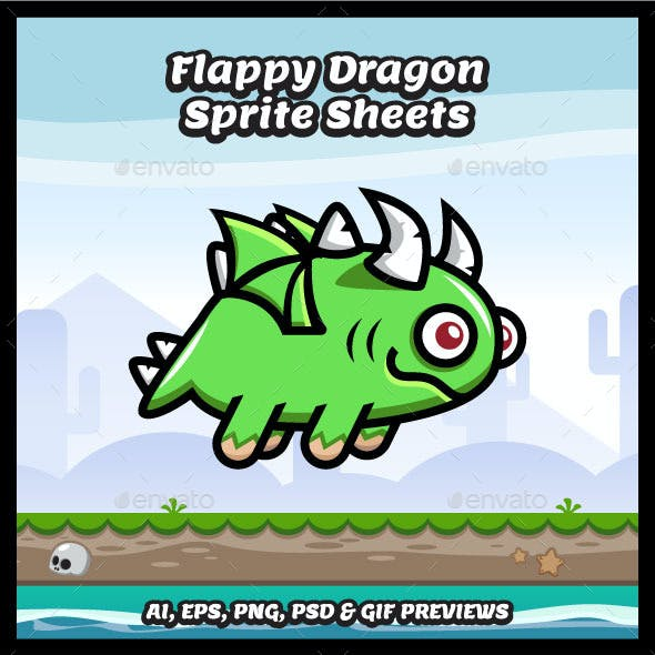 Flappy Dragon Game Character Sprite Sheets