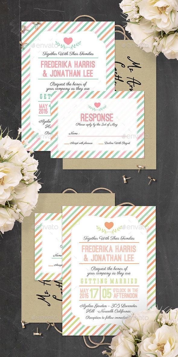 Stripes Wedding Invitation - PSD Template - Weddings Cards & Invites
