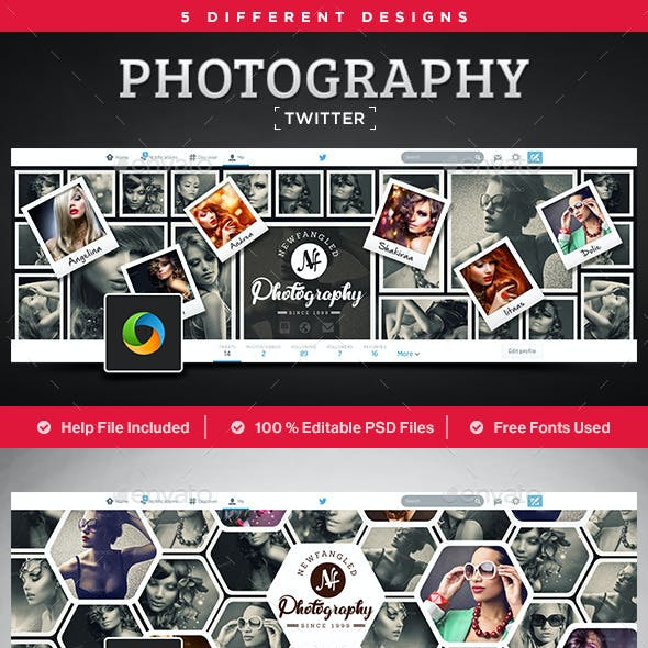 Photography Twitter Headers - 5 Designs