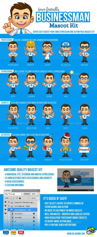 Businessman Mascot Kit - Characters Illustrations