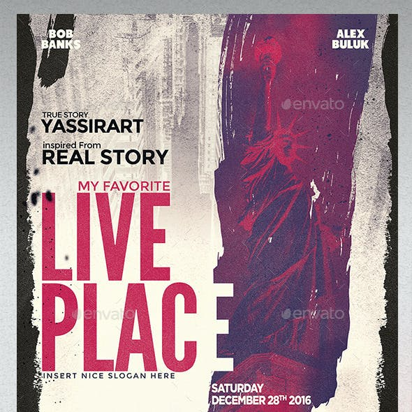 A3 Live Place Poster Film Template
