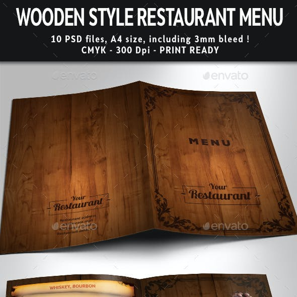 Wooden Style Restaurant Menu PSD Template