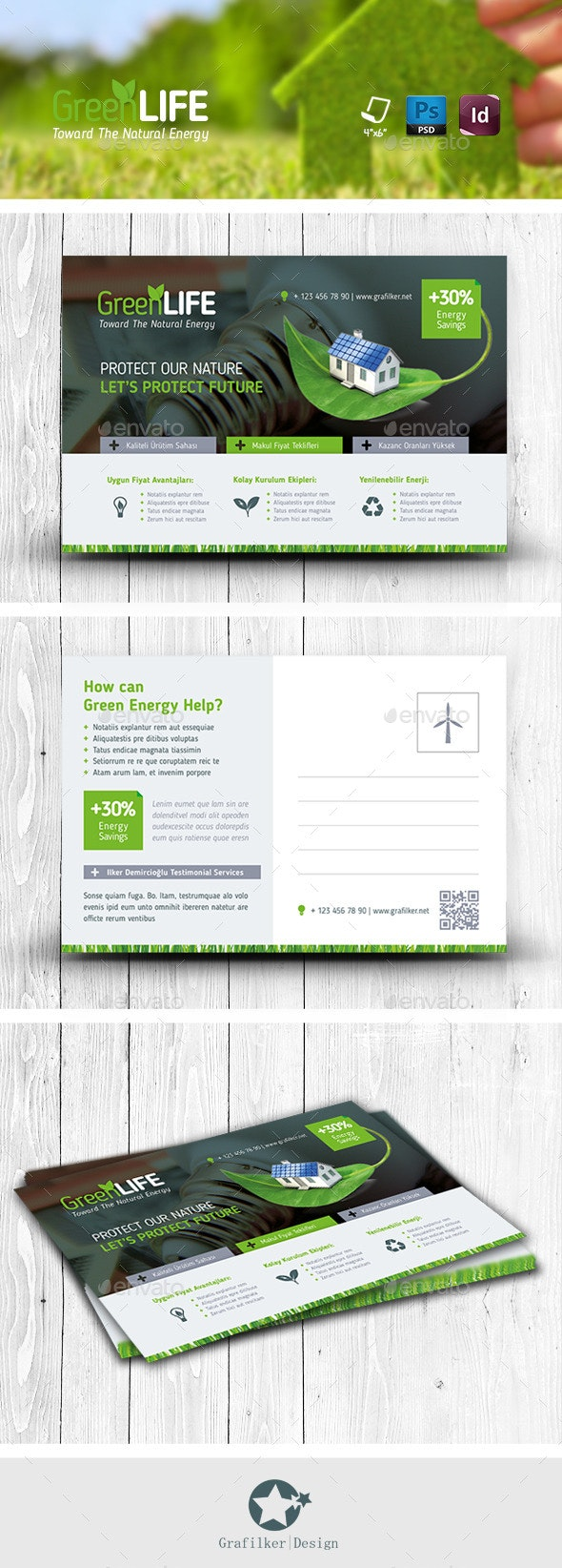 Green Energy Postcard Templates - Cards & Invites Print Templates
