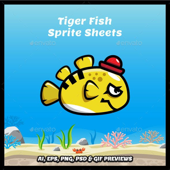Tiger Fish Game Character Sprite Sheets