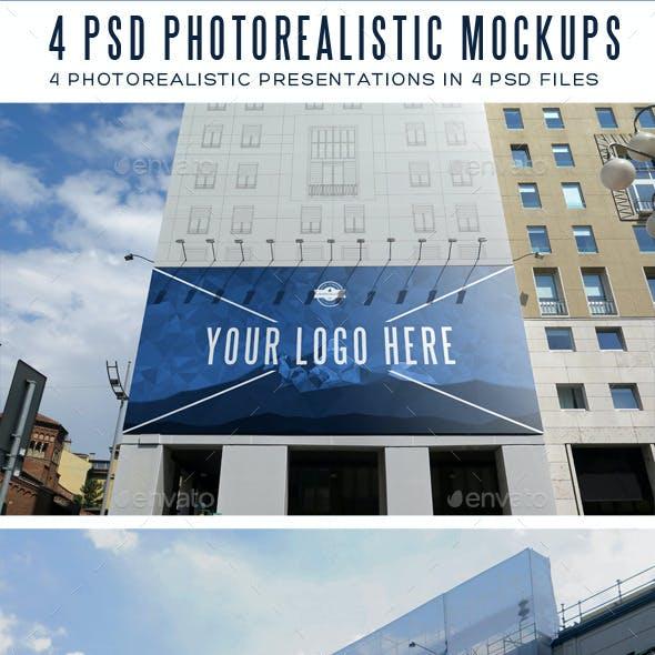 4 Photorealistic Outdoor Advertising Mockups
