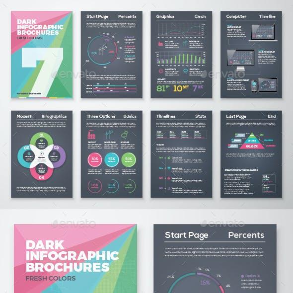 Dark Infographic Brochure Vector Elements Kit 7
