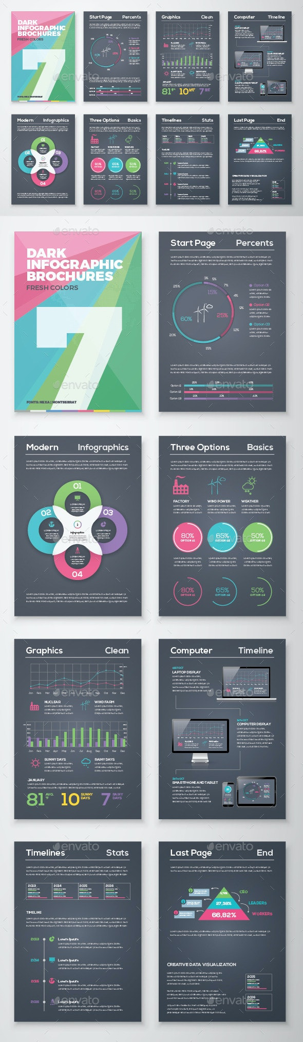 Dark Infographic Brochure Vector Elements Kit 7 - Infographics