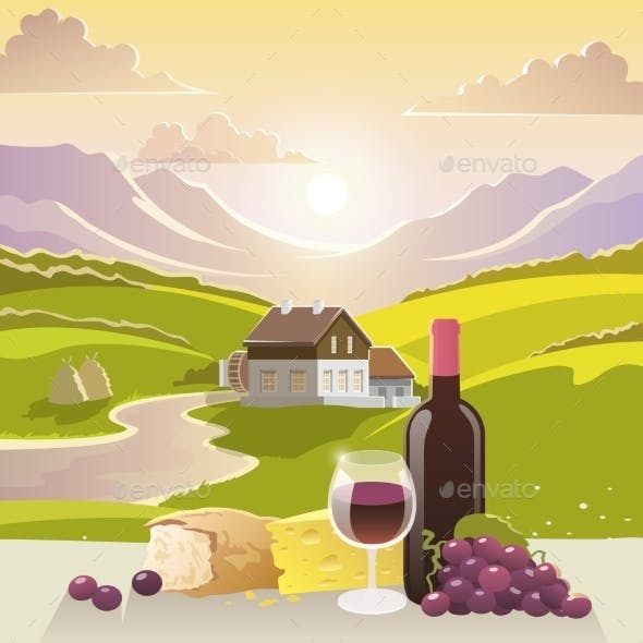 Mountain Landscape with Wine and Cheese