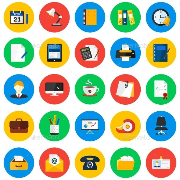 Office Circle Icons