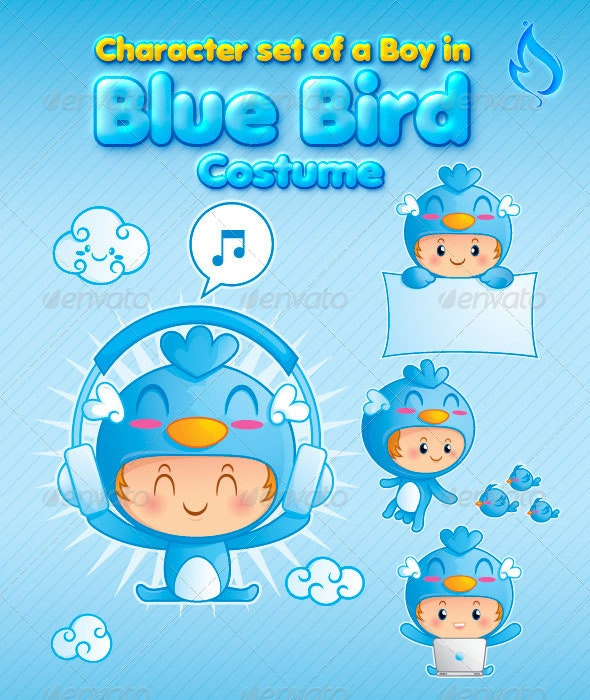 Character Set of a Boy in Blue Bird Costume - Characters Vectors