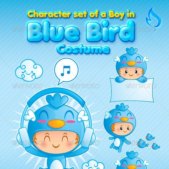 Character Set of a Boy in Blue Bird Costume