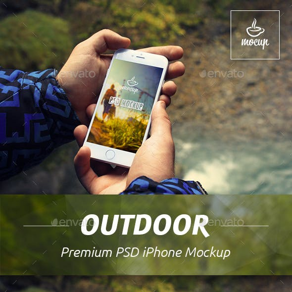 iPhone PSD Mockup in Outdoor