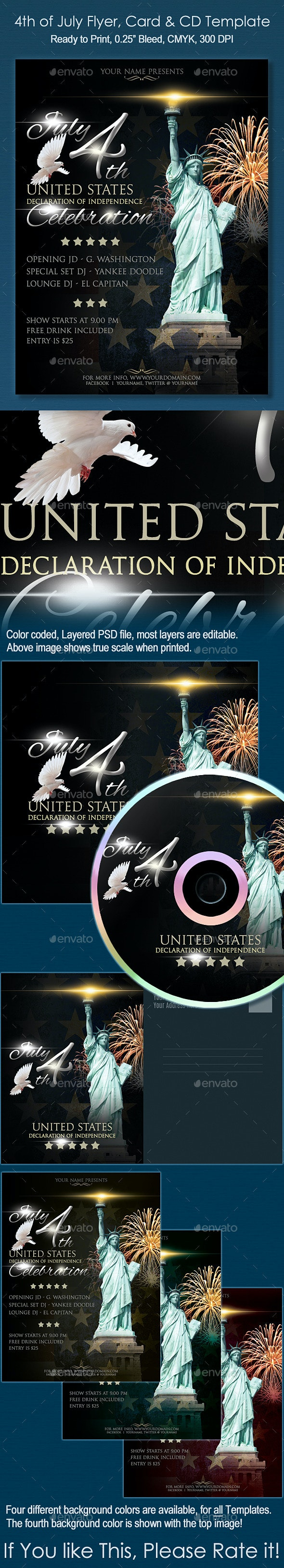 4th of July Flyer, CD and Card Template - Events Flyers