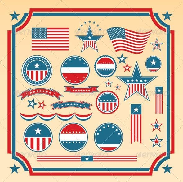 American Patriotic Design Elements - Decorative Vectors