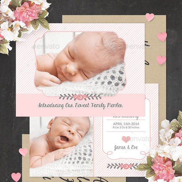 Birth Announcement Template - Baby Girl