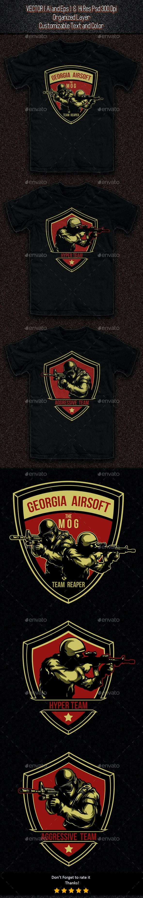 3 Airsoft Gun Template - Sports & Teams T-Shirts