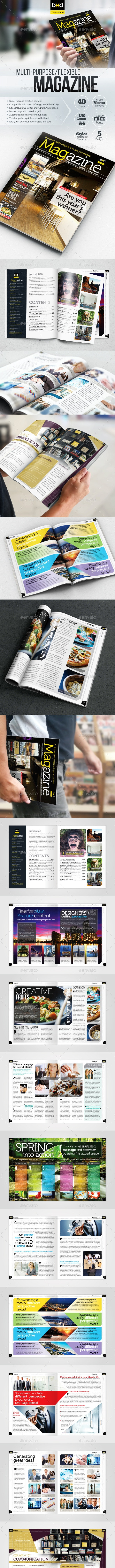 Magazine Template - InDesign 40 Page Layout V1 - Magazines Print Templates