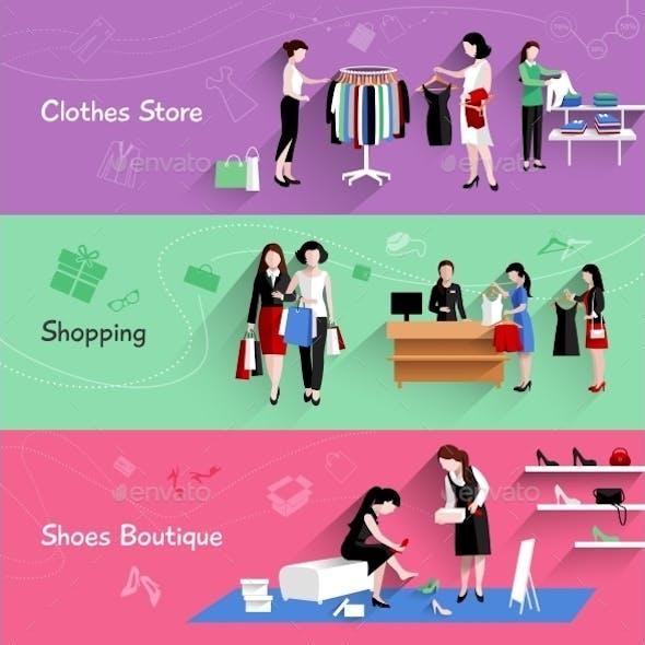 Woman Shopping Banner Set