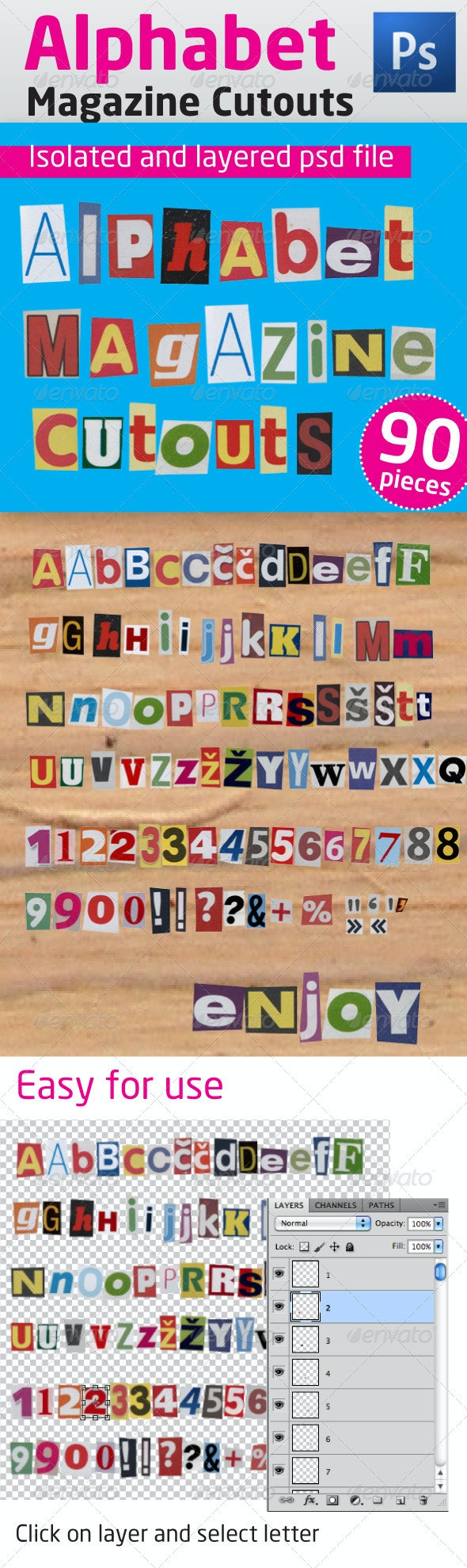 Alphabet Magazine Cutouts - Miscellaneous Isolated Objects