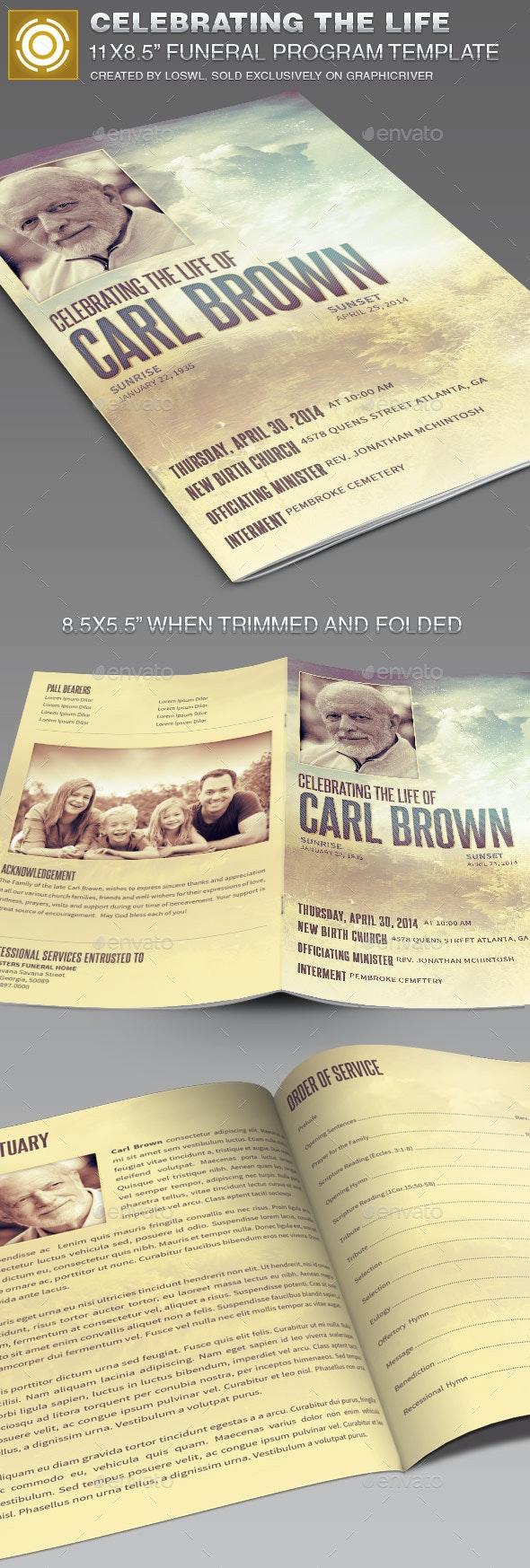 Celebrating the Life Funeral Program Template 014 - Informational Brochures
