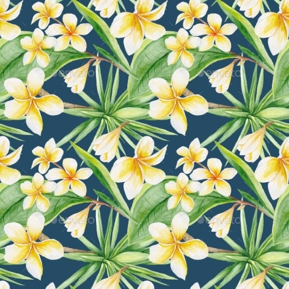 Tropical Pattern On Blue Background