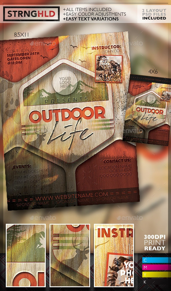 Vintage Outdoor Hunting Poster Template  - Sports Events