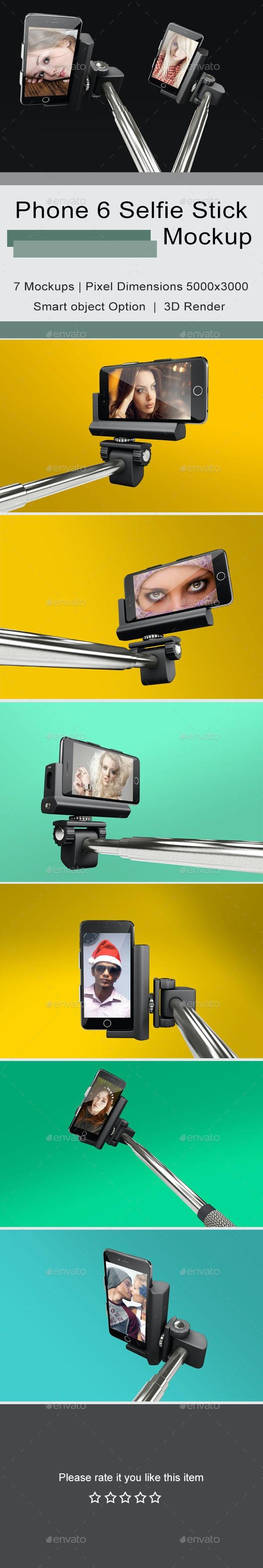 Phone 6 Selfie Stick Mockup 2 - Mobile Displays