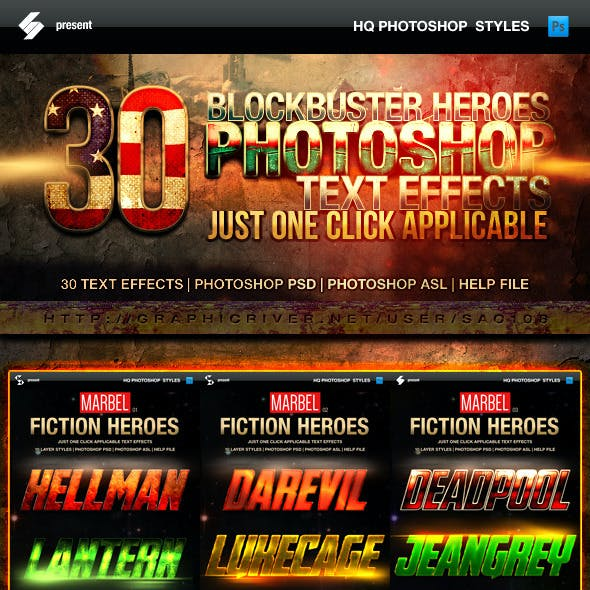 Blockbuster Heroes Style Text Effects - Bundle