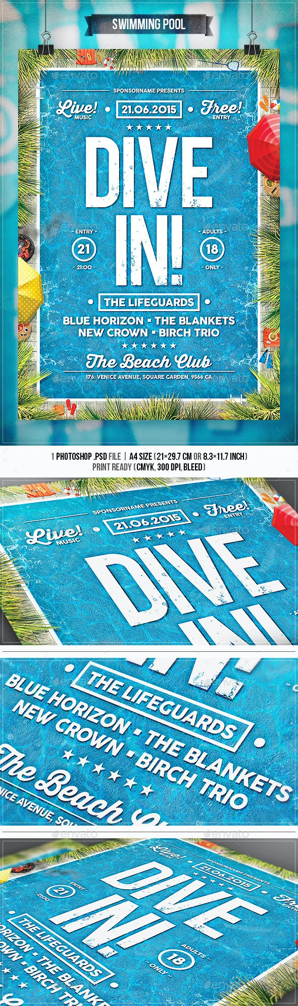 Swimming Pool - Flyer & Poster - Concerts Events