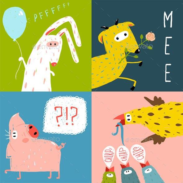 Cartoon Farm Animals Square Greeting Cards