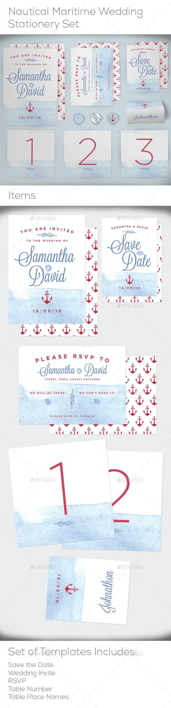 Nautical Maritime Wedding Stationery Set - Weddings Cards & Invites