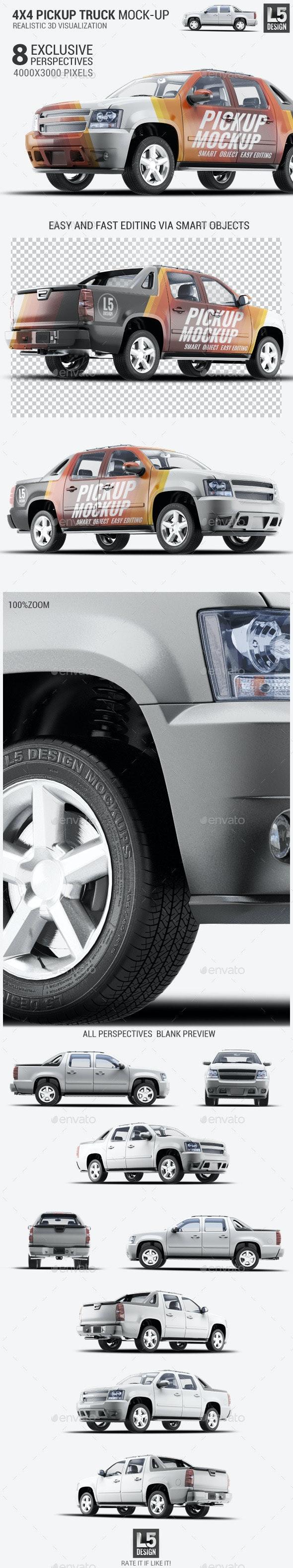 4X4 Pickup Truck Mock-Up - Vehicle Wraps Print