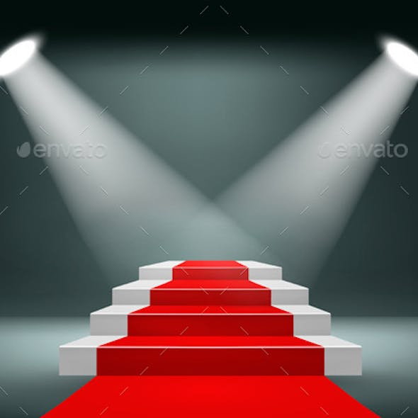 Showroom Background with a Red Carpet