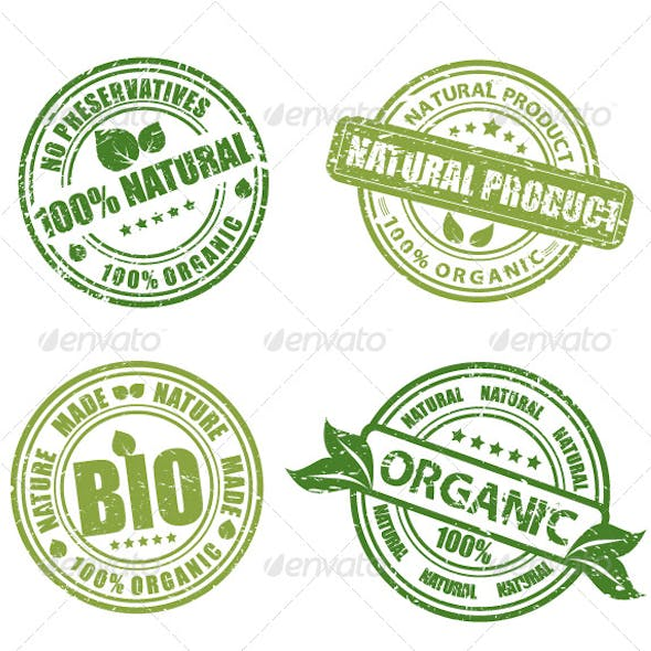 Green grunge labels