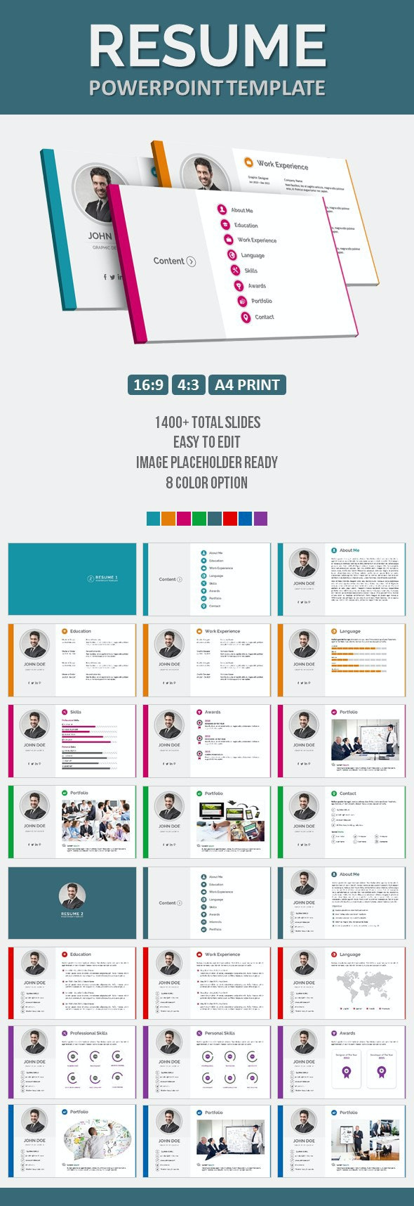 Resume PowerPoint Template - Business PowerPoint Templates