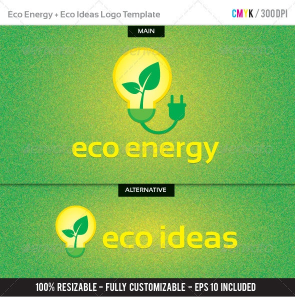 Eco Energy + Eco Ideas Logo Template - Nature Logo Templates