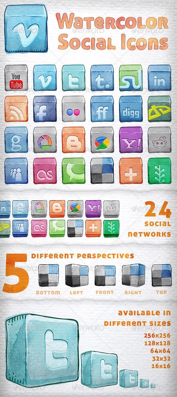 Watercolor Social Icons - Media Icons