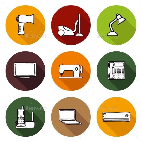 Set Of Hand Drawn Home Appliances Icons